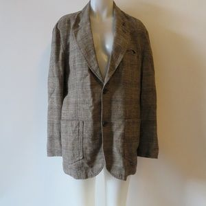 BOSS ORANGE LABEL PLAID LINEN BLAZER JACKET SZ 42R